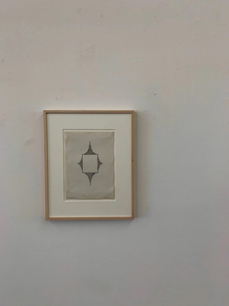 Ruth Wolf-Rehfeldt. Emptiness. 1974, Karbonkopie von Original-Typewriting, 29,5 x 21 cm. Ausstellungsansicht: Kunstverein Reutlingen. Foto: Elisabeth Weiß, © Ruth Wolf-Rehfeldt.