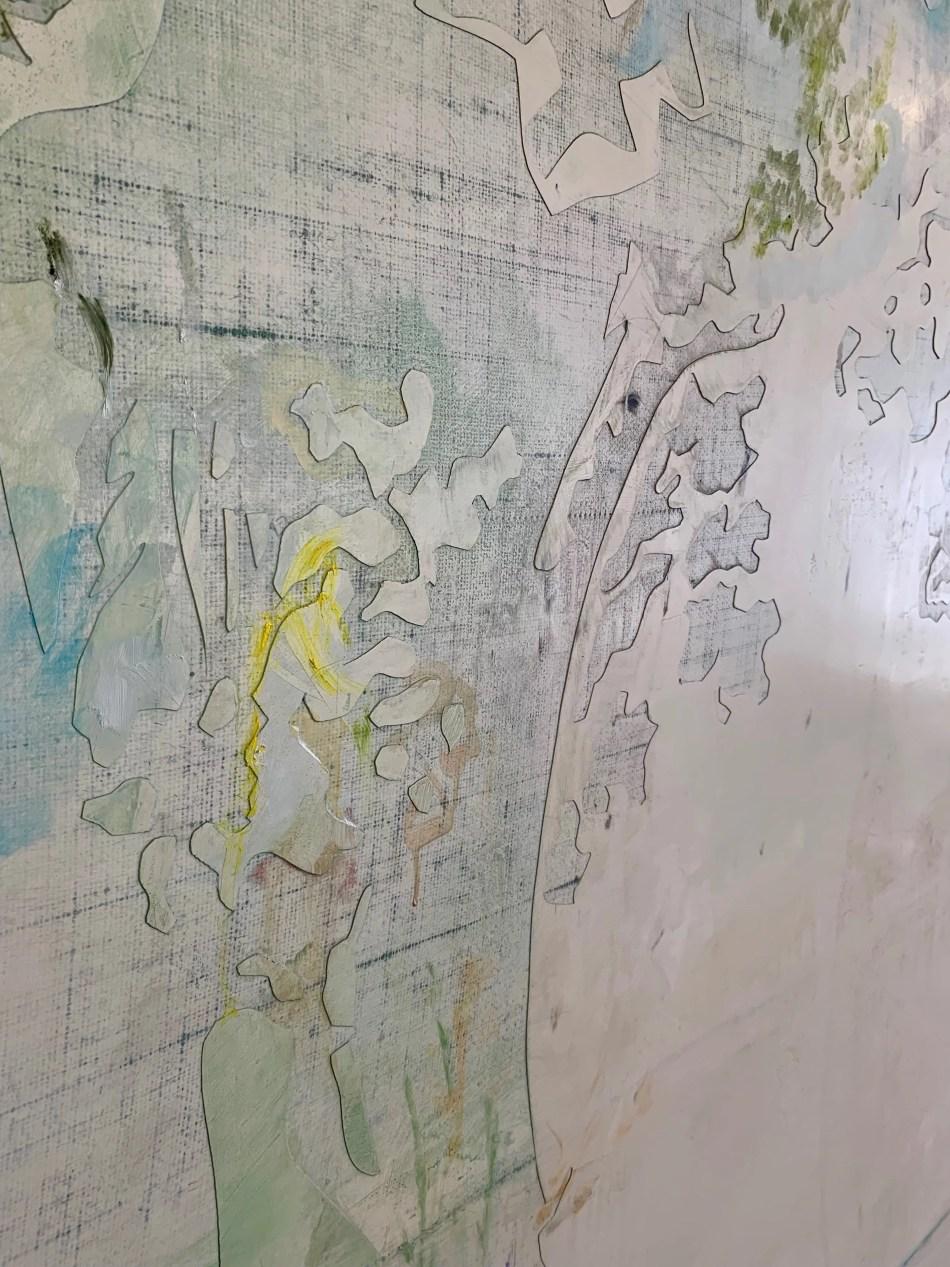 Sophie Reinhold. The allegory of sink or swim. Detail, 2019, Öl auf Marmormehl auf Jute, 195 x 200 cm. Ausstellungsansicht: Kunstverein Reutlingen. Foto: Elisabeth Weiß, © Sophie Reinhold.
