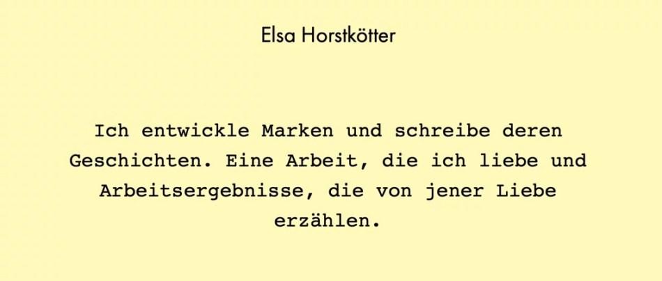 """Screenshot von Elsa Horstkötters Homepage. Foto: Sara Heinzelmann-Wilhelm, ©Elsa Horstkötter. """"Ich entwickle Marken und schreibe deren Geschichten. Eine Arbeit, die ich liebe und Arbeitsergebnisse, die von jener Liebe erzählen."""""""