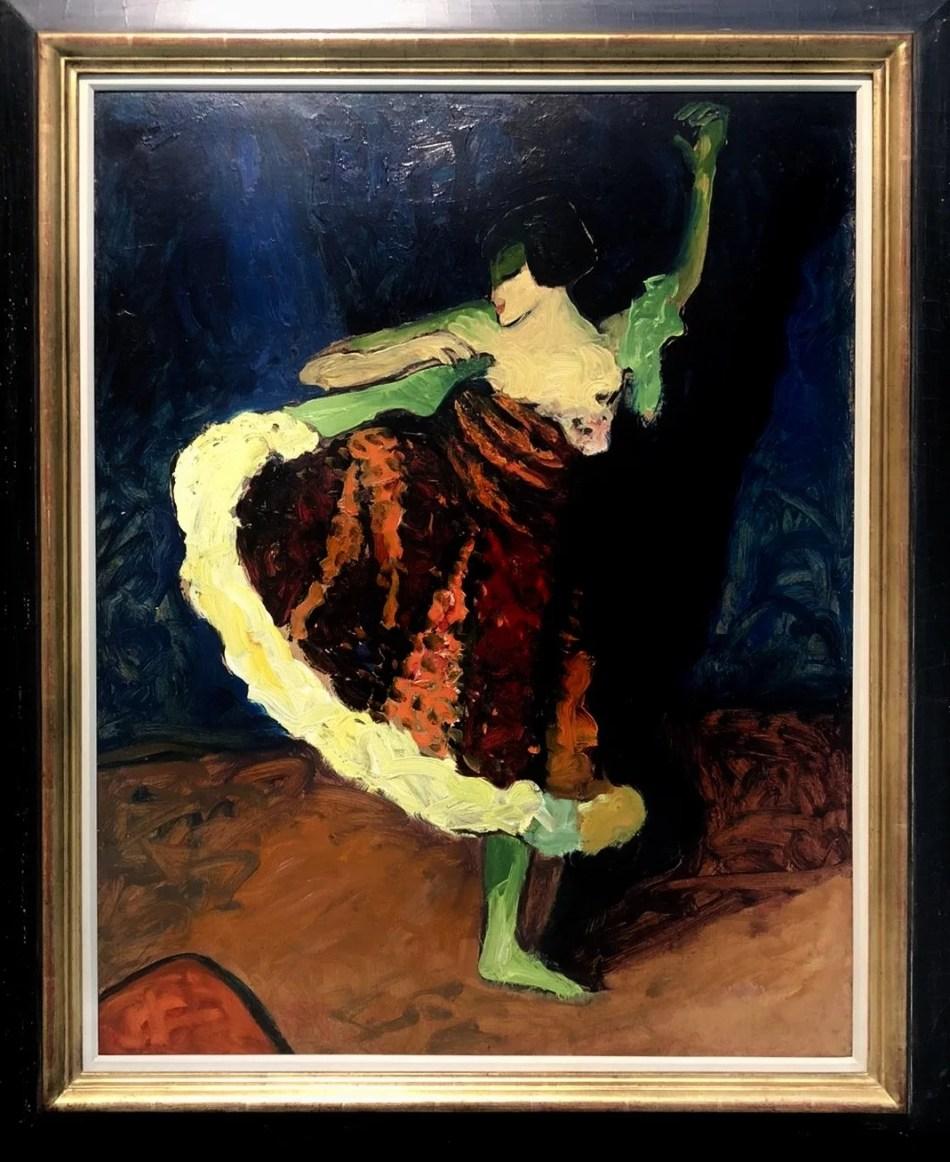Tänzerin von Erma Bossi, um 1909 in Öl auf Karton in expressiven Farben, vorrangig Rot, Dunkelblau, Grün und Gelb.