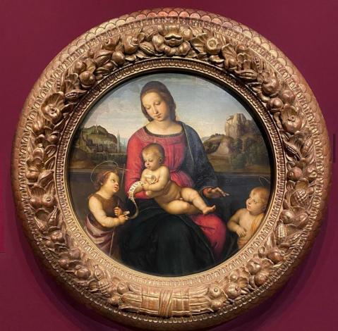 Raffael, Maria mit dem Kind, Johannes dem Täufer und einem Heiligen Knaben (Madonna Terranuova), um 1505, Öl auf Pappelholz © Staatliche Museen zu Berlin, Gemäldegalerie; Foto: Philipp Güthler