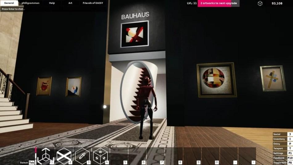 """Occupy White Walls Sceenshot: Die Ausstellung """"Bauhaus"""" der Galerie """"phillycommon"""". Zu sehen sind verschiedene Werke von Lazlo Moholy-Nagy."""