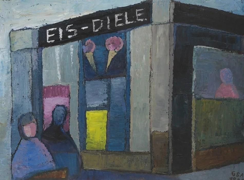 Gude Schaal. Eisdiele, 1985, Öl auf Hartfaserplatte, 60 x 80 cm. © Galerie Reinhold Maas.