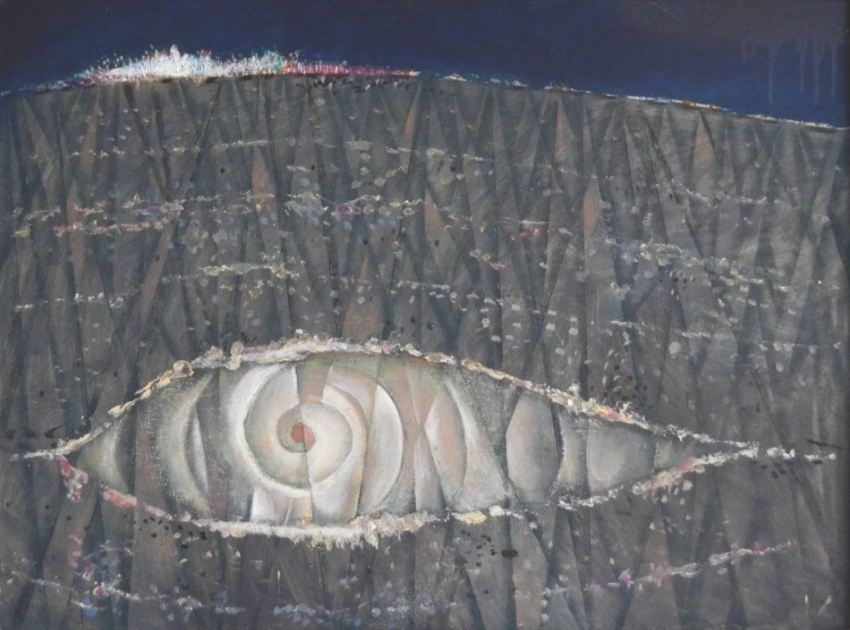 Winand Victor. Genesis IV, 1966, Öl auf Holz, 63 x 85 cm. © Galerie Reinhold Maas.