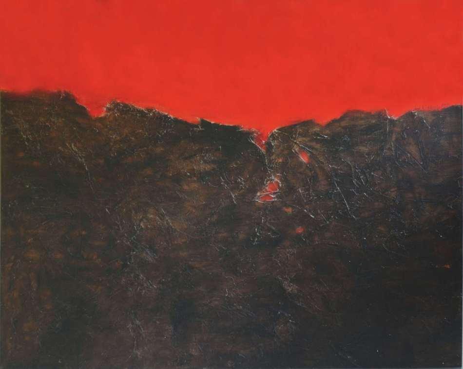 Winand Victor. Rot gegen Braun, 2000, Mischtechnik auf Holz, 100 x 120 cm. © Galerie Reinhold Maas.