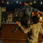 Bar-fu with a twisting back kick