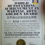 Carter Wong Martial arts Golden Awards accolade