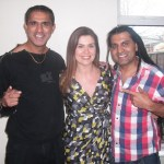With childhood friend Apache Indian and television presenter Amanda Lamb for UK's Channel 4 television