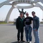 L-R Wushu Coach Zhu, KFK's Glen Stanway, GB Wushu Team Athlete Alexis Georgiou