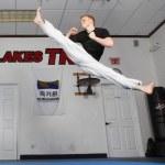 Ginger Ninja jumping split kick