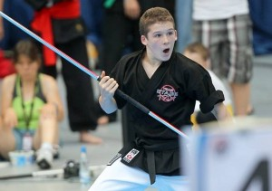 Luke Scott in action with his bo staff