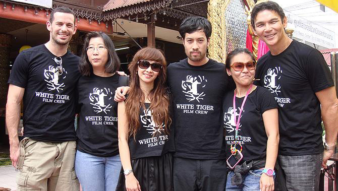Kazu Tang with White Tiger film crew inc Don Wilson and Matt Mullins