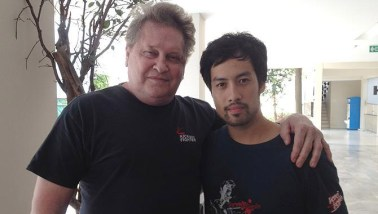 Kazu with kickboxing karate legend Joe Lewis
