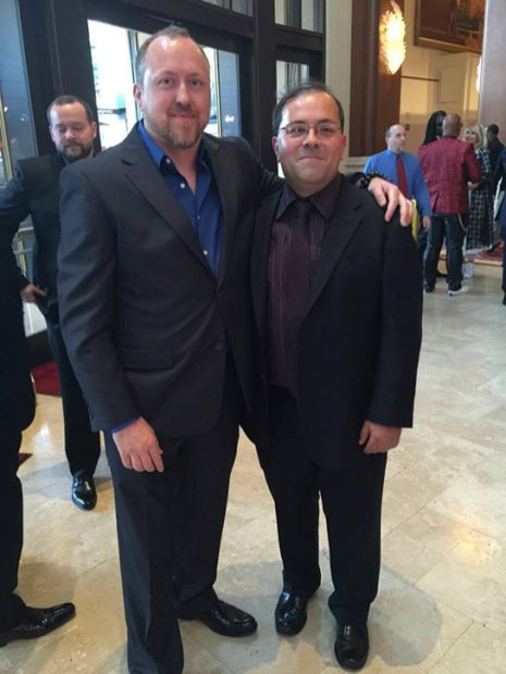 Ernie at the premiere of Pound of Flesh with the film's screenwriter, Joshua James