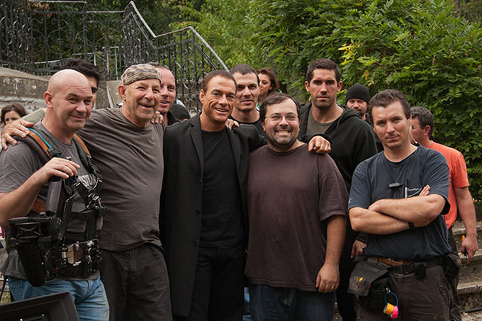Ernie on the set of Assassination Games with Jean-Claude, Scott Adkins and crew