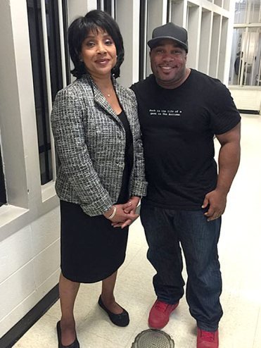 Larnell on the set of Creed with Phylicia Rashad