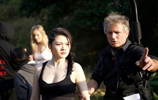 Jenny on the set of Lady Bloodifght with director Chris Nahon