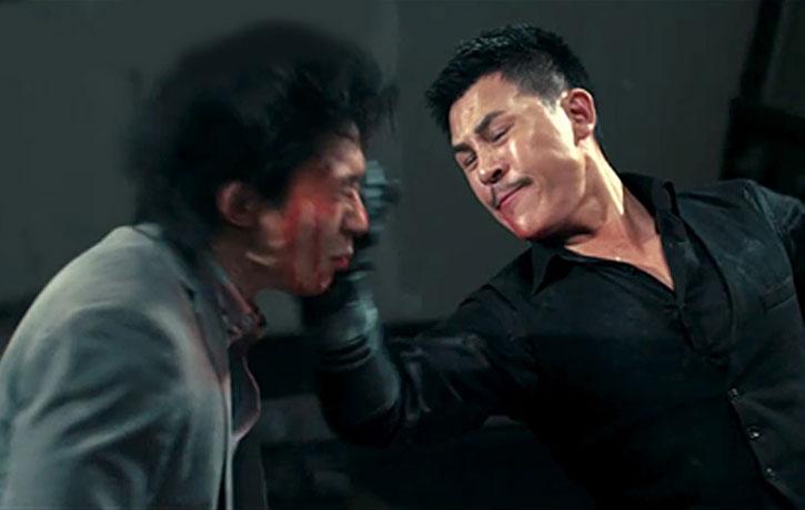 Jiang Li lands a perfect shot on Wu Lin