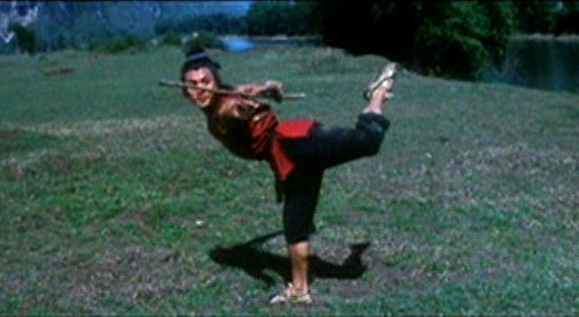 Jet Li performs a Gunshu Cudgel form
