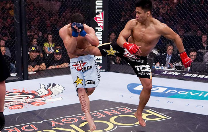 Cung lands a crushing jump spinning back kick on Scott Smith