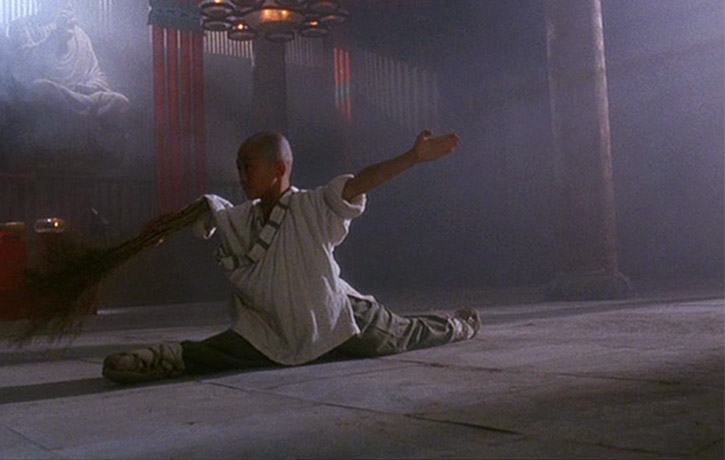 Wushu cudgel basics whilst sweeping the floor