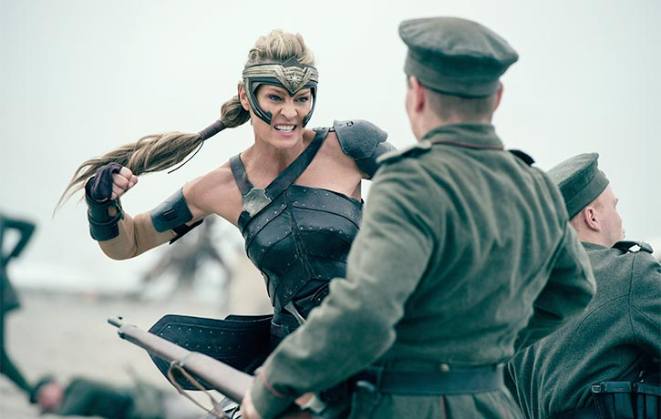 Antiope leads the Amazons in battle