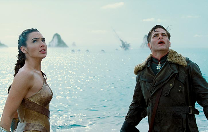 Diana rescues Steve Trevor from the sea