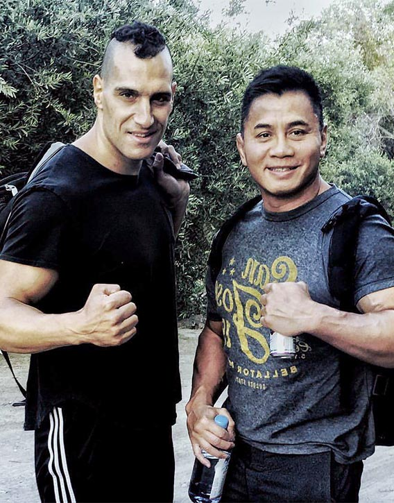 Marko on the set of Savage Dog with MMA legend Cung Le