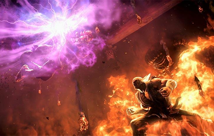 Akuma and Heihachi face off