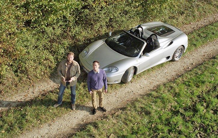 Enjoying a Ferrari ride in the countryside -c'est la vie!