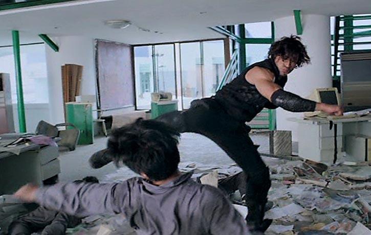 Karan lands a powerful spinning kick