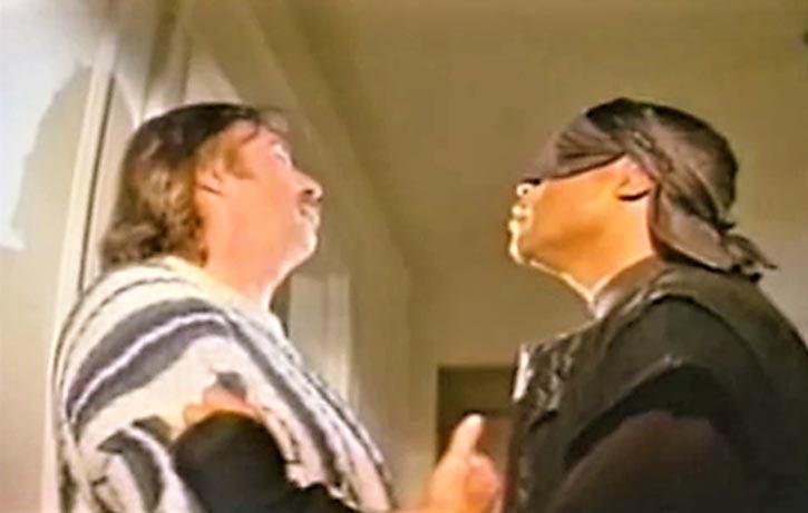 The Black Ninja interrogates Fanelli's henchman
