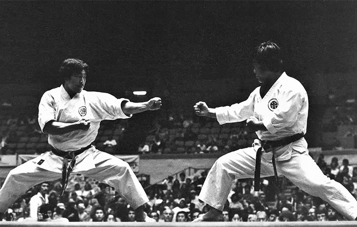 Competition time - a young Sensei Demura stands ready in Kamae