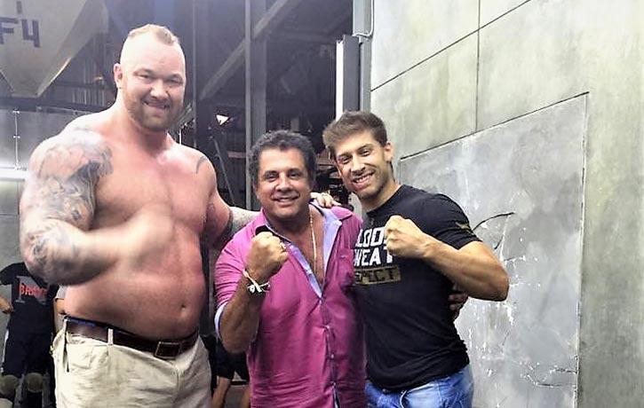 Dimitri with Alain Moussi and the MOUNTAIN of Kickboxer Retaliation, Hafthor Bjornsson