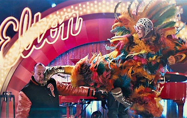 Elton John executes a flawless flying sidekick - 'nuff said!