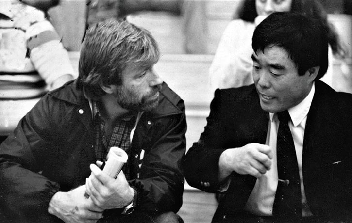 Karate legends side by side -Chuck Norris with Fumio Demura