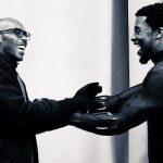 Marrese and Chadwick Boseman on the set of Black Panther