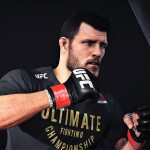 Michael Bisping works the bag for his next fight