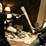 One intense sword fight
