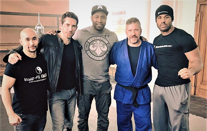 Scott with Tim Man, Michael Jai White, and Ray Park on the set of Accident Man. Tim certainly has a great tailor!