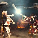 Gintoki clashes blades with his foe