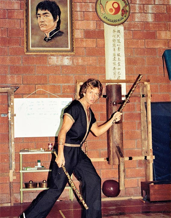 Dave at Dan Inosanto Academy, Torrance - in front of the legend Bruce Lee