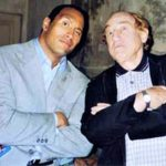 Gene with another pro-wrestler - The Rock!