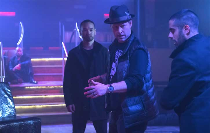 Clayton takes Sacha Dhawan through the choreography of the next fight sequence