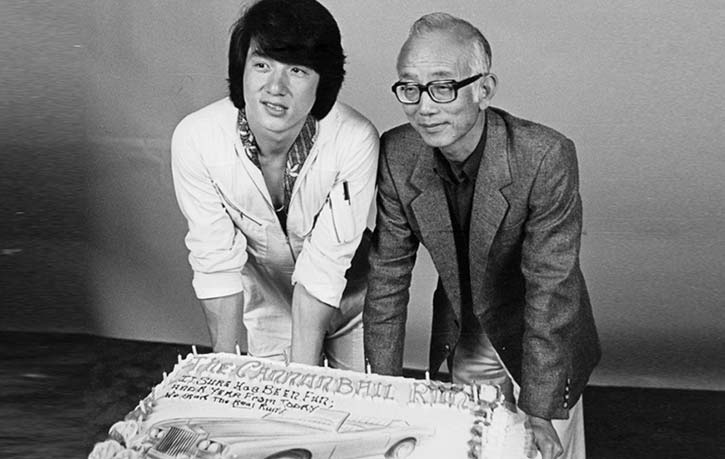 Jackie Chan and Raymond Chow celebrating The Cannonball Run