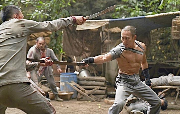 Bruce in a blazing sword fight in Revenger!