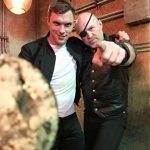 Garrett with Ed Skrein on the set of Alita Battle Angel