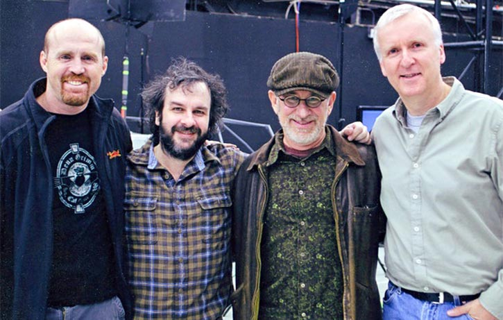 Garrett with Peter Jackson, Steven Spielberg, and James Cameron