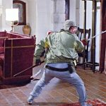 Sammo Hung shines with his Chinese opera-style weapons skills