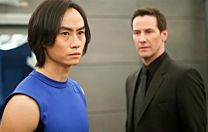 Tiger with Keanu Reeves on the set of Man of Tai Chi